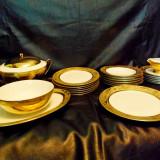 Servici de masa placat cu aur -Glass Porcelain Manufacturers Debelly