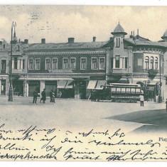 2804 - IASI, Market Unirii, tramway - old postcard - used - 1903 - Carte Postala Moldova pana la 1904, Circulata, Printata