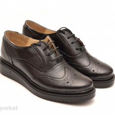 Pantofi dama negri casual-eleganti din piele naturala Oxford Black cod P60 - Pantof dama, Culoare: Negru, Marime: 35, 36, 37, 38, 39, 40, Cu talpa joasa
