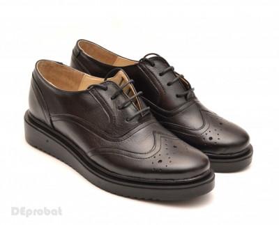 Pantofi dama negri casual-eleganti din piele naturala Oxford Black cod P60 foto