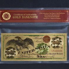 100 DOLARI 1863 S.U.A. - BANCNOTA POLYMER PLACATA CU AUR 24K - bancnota america