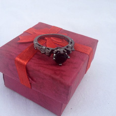 Inel dama argint 925 filat cu aur negru model Black Lord - Inel argint