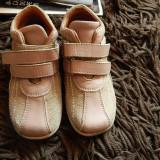 Pantofiori, papucei fetita, piele interior exterior, talonet, marimea 25 - Pantofi copii, Culoare: Nude, Fete, Piele naturala