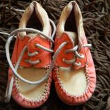 Mocasini piele, papucei fetite, marimea 25, lucrati manual