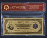 S.U.A. - 2 DOLLARI 1918 BATTLESHIP BANCNOTA POLYMER PLACATA CU AUR 24K