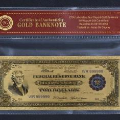 S.U.A. - 2 DOLLARI 1918 BATTLESHIP BANCNOTA POLYMER PLACATA CU AUR 24K - bancnota america