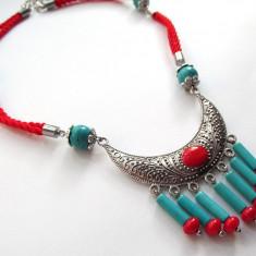 Colier stil indian cu coral si turcoaz