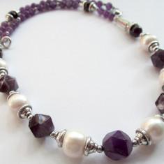 Colier ametist natural maxifatetat cu perle de cultura - Colier perle
