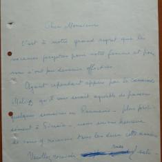 Scrisoare olografa a lui Saharia Stancu - Autograf