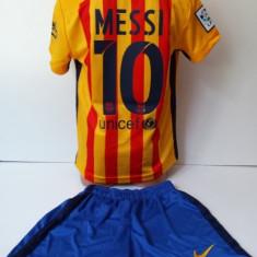 Echipament sportiv fotbal copii FC.Barcelona Messi galben marimea 176 - Echipament fotbal, Marime: Alta, Set echipament fotbal