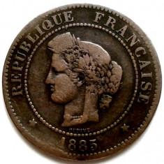RARITATI, FRANTA, 5 CENTIMES 1885 A, DIAMETRU 25mm., Europa, Cupru (arama)
