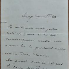 Scrisoare a Generalului Gr. Constandachi catre I. C. Filitti, 1930 - Autograf