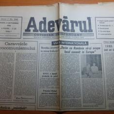 ziarul adevarul 9 octombrie 1990