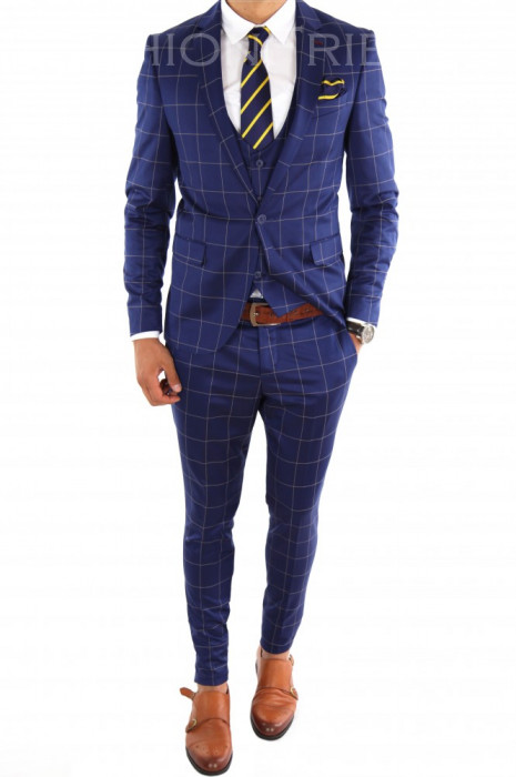 Costum tip ZARA - sacou + vesta + pantaloni costum barbati casual office  - 6865 foto mare