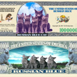 !!! SUA = FANTASY NOTE (TJ6) = PISICA RUSEASCA ALBASTRA - 2011 - UNC, America de Nord