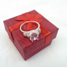 Inel dama argint 925 topaz model Sweet Pink - Inel argint