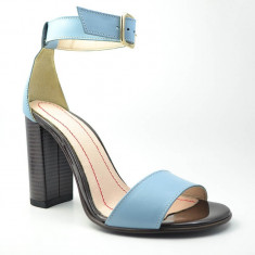 Sandale dama GIULIO. Model Piele Naturala Bleu cu Toc Inalt, Marime: 36, 37, 38, 40