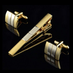 Set butoni cu ac cravata model GOLD + ambalaj cadou