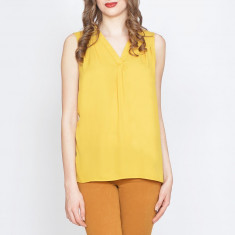 Bluza dama Raspberry. Model Asymmetric Yellow, Marime: 34, 36, 38, Fara maneca, Club, Galben