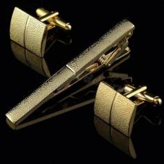 Set butoni cu ac cravata model GOLD 2 + ambalaj cadou