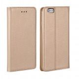 Husa Samsung Galaxy J3 2016 Flip Case Slim Inchidere Magnetica Gold