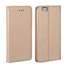 Husa Samsung Galaxy J3 2016 Flip Case Slim Inchidere Magnetica Gold - Husa Telefon Samsung, Auriu, Piele Ecologica, Cu clapeta, Toc
