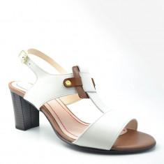 Sandale dama GIULIO. Model Piele Naturala Alba Havan cu Toc Mediu, Marime: 35, 36, 37, 38, 39, 40