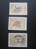 Yemen(Re.Populara Democrata) 1989 _ 3 timbre pisici - protectia naturii, Nestampilat
