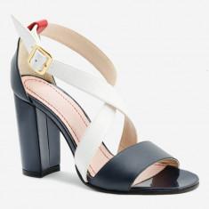Sandale dama GIULIO. Model Piele Naturala Alba Neagra, Marime: 35, 38, 39, 40