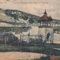 PIATRA NEAMT, GROTA URSULUI DIN PARCUL COZLA. ED. LIBRARIA MUNCA, CIRC. 1912 - Carte Postala Moldova 1904-1918, Stare: Circulata, Tip: Printata