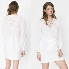 Bluza Dama Desigual cu dantela, Marime: XS, Culoare: Din imagine, Maneca lunga, Universala, Poliester