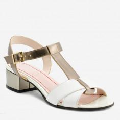 Sandale Dama. Model Piele Naturala Alba Bronz