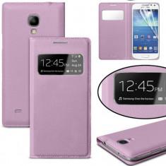 Husa SAMSUNG GALAXY S4 flip book s view ROZ ROZA cu capac baterie - Husa Telefon