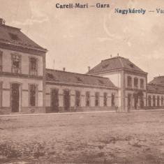 CAREII MARI, GARA - Carte Postala Maramures dupa 1918, Necirculata, Printata
