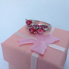 Inel dama argint 925 rubin model Double Red - Inel argint