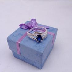 Inel dama argint 925 safir model Double Blue - Inel argint