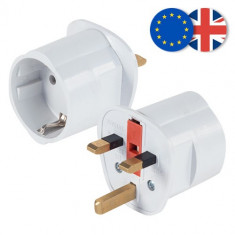 Adaptor priza EU la UK siguranta 13A cu impamantare - NOU - Adaptor interfata PC