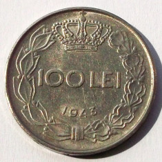 ROMANIA 100 LEI 1943 8.5 g, 28 mm, MIHAI I, FRUMOASA ** - Moneda Romania, Fier
