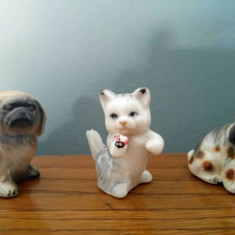 Lot 3 bibelouri miniaturi: 2 caini si o pisica, 4x4cm, decor, vechi, vintage