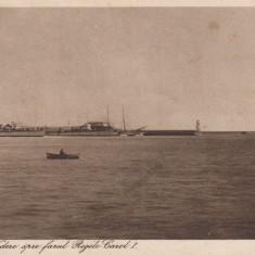 CONSTANTA, VEDERE SPRE FARUL REGELE CAROL I - Carte Postala Dobrogea dupa 1918, Circulata, Printata