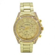 Ceas dama auriu gold GENEVA II curea metalica cristale + cutie simpla cadou, Quartz, Otel, Analog