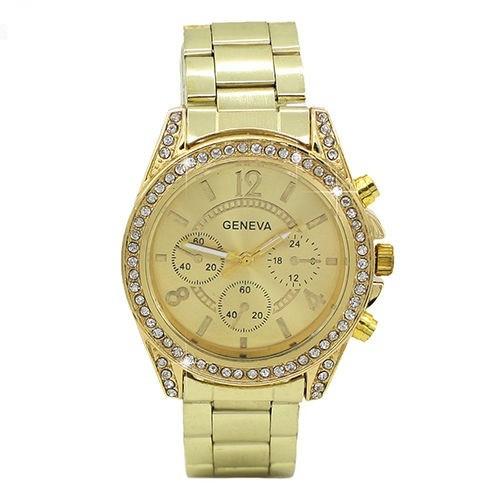 Ceas dama auriu gold GENEVA II curea metalica cristale + cutie simpla cadou
