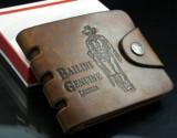 Portofel piele + textil perforatii margine Bailini prevazut cu capsa, Coffee, Cu inchizatoare