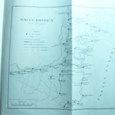 Harta- Schita - Dacia Pontica de Ctin Giurescu , inc.sec.XX , 25x25 cm