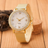 Ceas dama FASHION curea metal auriu cadran aspect sidef + cutie simpla cadou, Casual, Mecanic-Manual, Otel, Geneva