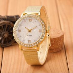 Ceas dama Geneva FASHION curea metal auriu cadran aspect sidef + cutie simpla cadou, Casual, Mecanic-Manual, Otel, Analog