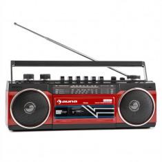Auna Duke, RETRO BOOMBOX, magnetofon portabil, USB, SD, bluetooth, radio FM - Combina audio