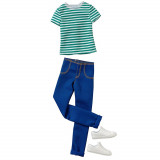 BARBIE KEN FASHION CASUAL STRIPE SHIRT JEANS CFY02-DWG75