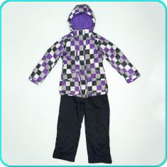 Costum-salopeta ski / iarna, gros, impermeabil, OKAY _ fete | 7 - 8 ani | 128 cm, Marime: Alta, Culoare: Multicolor