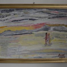 HORNET NICOLAE  U/P  64/88 CM.''AMURG LA MALUL MARII'' SEMNAT  DR JOS  1983, Abstract, Ulei